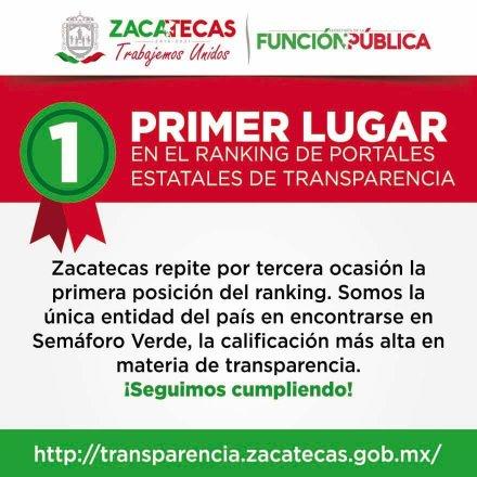 Portal de Transparencia del Estado de Zacatecas, Primer Lugar en el ranking de portales de transparencia, por tercera ocasión
